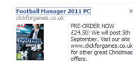 FM2011 Facebook Ad from Click For Games